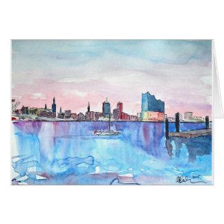 Cartão Skyline do porto de Hamburgo e Elbe Salão