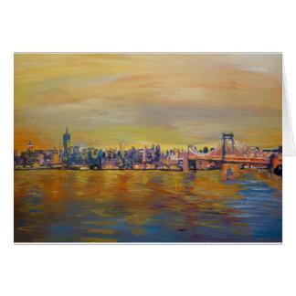 Cartão Skyline dourada de Manhattan com um centavo de
