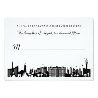 Cartão Skyline preta & branca de Las Vegas que Wedding o