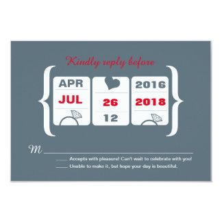 Cartão Slot machine cinzento e vermelho que Wedding RSVP
