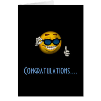 """Cartão Smiley dos """"parabéns"""" - com óculos de sol"""