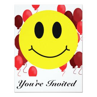 Cartão Smiley face com balões vermelhos