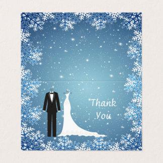 Cartão Smoking, vestido, flocos de neve no obrigado azul