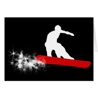 Cartão snowboard. fuga do pó