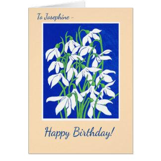 Cartão Snowdrops dianteiro feito sob encomenda em azul e
