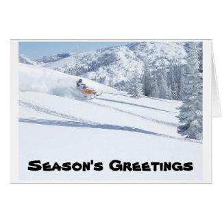 Cartão snowmobile, os cumprimentos da estação