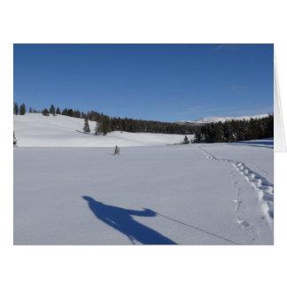 Cartão Snowshoeing no parque nacional de Yellowstone