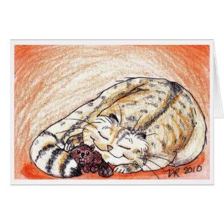 Cartão Snuggles sonolentos do gatinho gordo