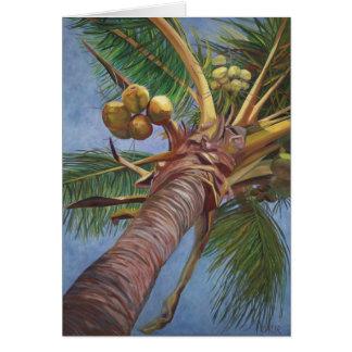 Cartão Sob a árvore de coco