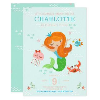 Cartão Sob a sereia do mar com aniversário de criança