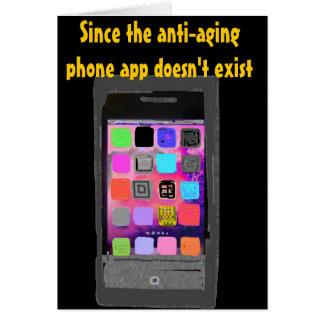 Cartão Sobre o telefone cómico app do aniversário do