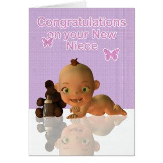 Cartão Sobrinha do bebê dos parabéns tia e do tio Novo