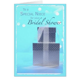 Cartão Sobrinha, presentes do chá de panela, luz - azul &