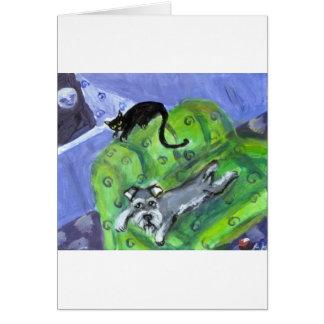 Cartão Sofá do Schnauzer e do gato preto