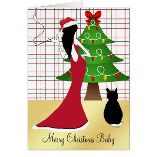 Cartão sofisticado chique do bebê do Feliz Natal
