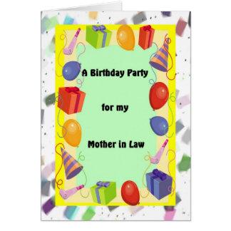 Cartão Sogra do partido de aniversário, festiva
