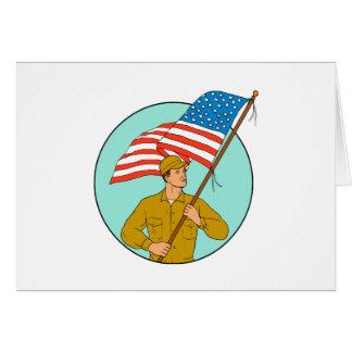 Cartão Soldado americano que acena o desenho do círculo