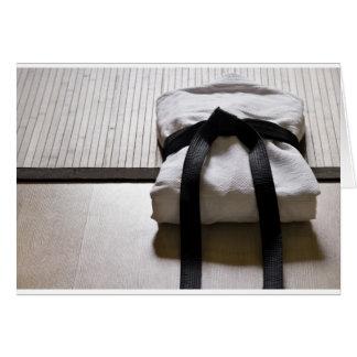 Cartão Soldado do judo na esteira de Tatami