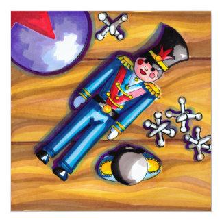 Cartão Soldado e jaques de brinquedo no assoalho