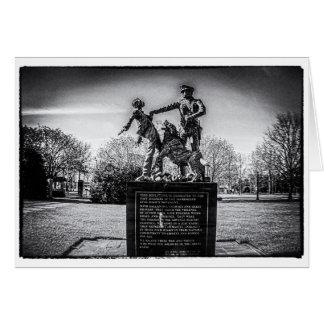 Cartão Soldados de infantaria no parque B&W de Kelly