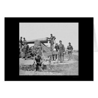 Cartão Soldados e 24 armas Ft Corcoran 1864 do cerco do