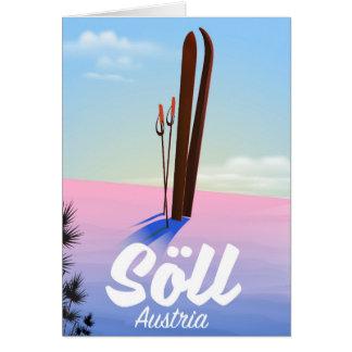Cartão Söll, poster de viagens do esqui de Áustria