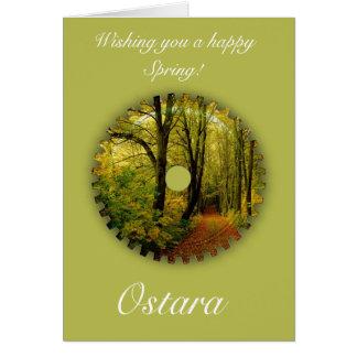 Cartão Solstício do primavera de Ostara com cenário do