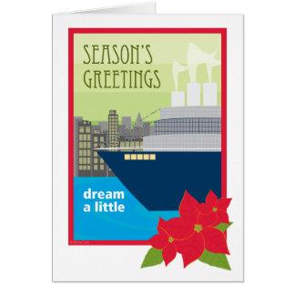 Cartão Sonho do navio de cruzeiros do Natal um pouco