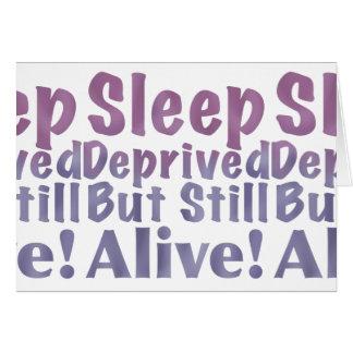 Cartão Sono destituído mas ainda vivo em roxos sonolentos