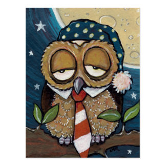 Cartão sonolento da arte da coruja do negócio de