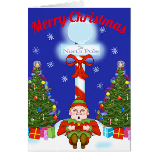 Cartão sonolento do Natal do duende