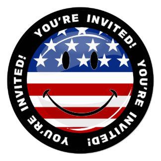 Cartão Sorriso em volta da bandeira americana