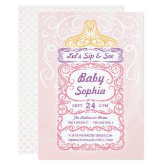 Cartão Sorva e veja a menina da garrafa de bebê