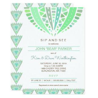 Cartão Sorva e veja o chá de fraldas convidar, mandala do