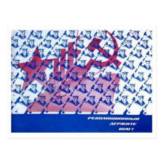 Cartão soviético da propaganda do março cartões postais