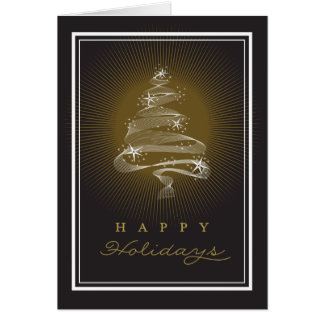Cartão Sparkling do feriado do negócio da árvore