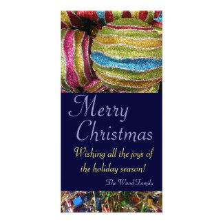 Cartão Sparkling do feriado dos ornamento Cartoes Com Foto Personalizados