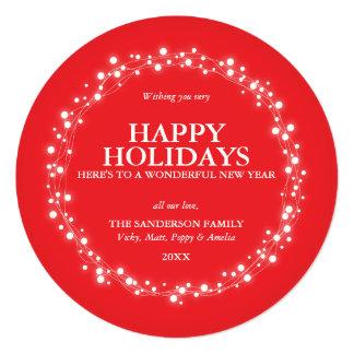 Cartão Sparkling vermelho redondo do feriado das Convite Quadrado 13.35 X 13.35cm