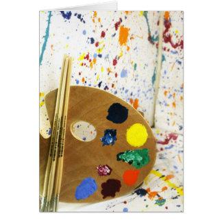Cartão Splatter da pintura dos artistas e pálete da