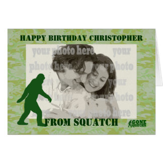 Cartão Squatchin ido bigfoot no camo verde
