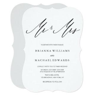 Cartão Sr. da caligrafia e Sra. elegantes simples