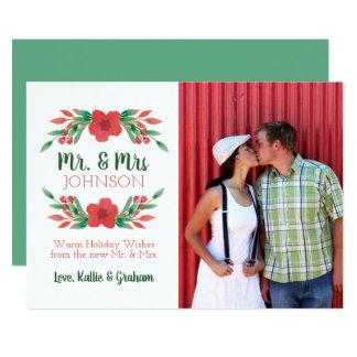 Cartão Sr. da foto floral do Natal e Sra. novos Feriado