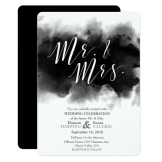 Cartão Sr. do gótico e Sra. escuros Aguarela Casamento