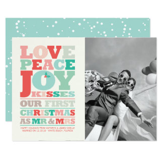 Cartão Sr. do Natal da alegria da paz do amor primeiros &