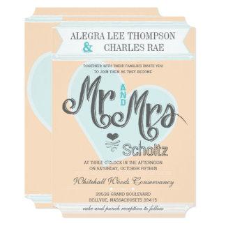 Cartão Sr. do pêssego do Aqua e Sra. Tipografia Casamento