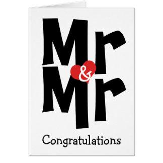 Cartão Sr. e parabéns do Sr. Gay Casamento Preto Branco