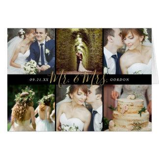 Cartão Sr. e Sra. Foto Colagem Casamento Agradecimento