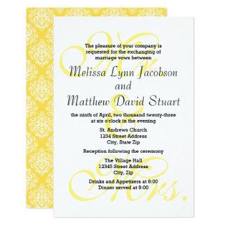 Cartão Sr. & Sra. Amarelo - o casamento 3x5 & a recepção