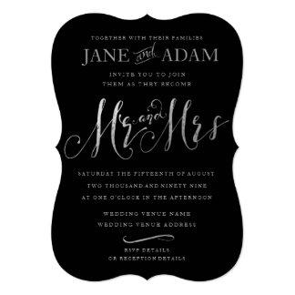 Cartão Sr. & Sra. elegantes Preto & casamento de prata da