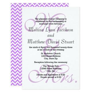 Cartão Sr. & Sra. Roxo - o casamento 3x5 & a recepção